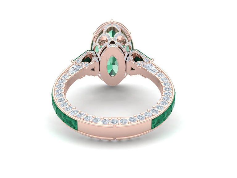 6 Carat Tourmaline, Malachite and Diamond Rose Gold, Platinum Cocktail Ring In Excellent Condition For Sale In Aliso Viejo, CA