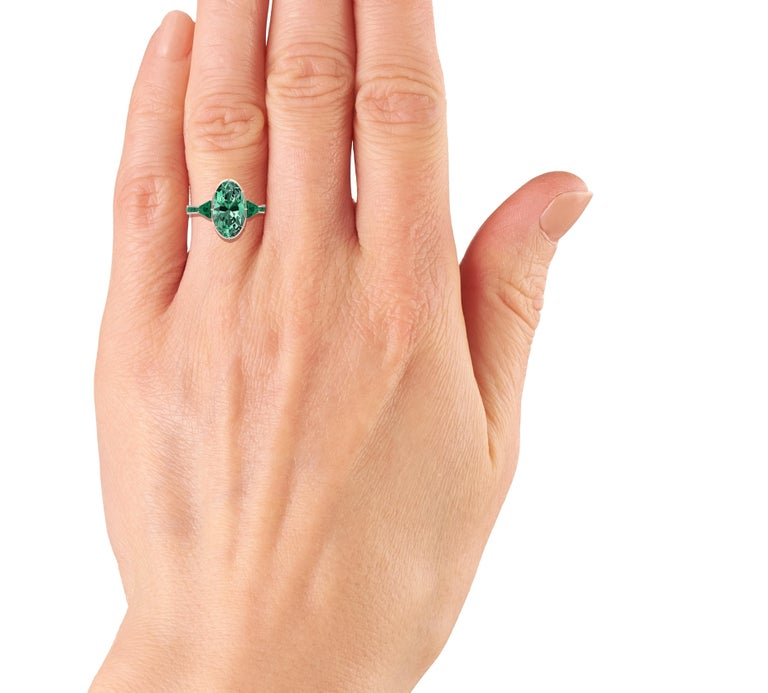 Women's or Men's 6 Carat Tourmaline, Malachite and Diamond Rose Gold, Platinum Cocktail Ring For Sale