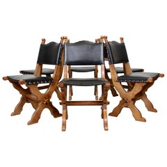 6 Carved Oak Gothic Dining Chairs