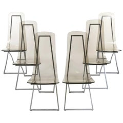 6 CH4 Chairs by Edmond Vernassa, Chromed Steel and Plexiglas, circa 1973