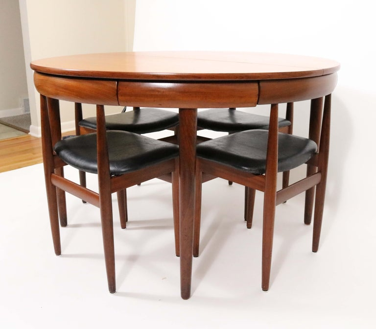 Leather Six-Chair Dining Set by Hans Olsen for Frem Røjle For Sale