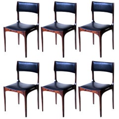 Six Chairs Giuseppe Gibelli, 1960s Sormani Italian Design Rosewood Black Leather