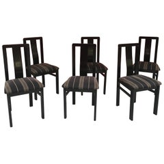 6 Chairs in Blackened Wood, circa 1960-1970