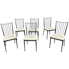 6 chairs in lacquered metal, french reconstruction circa 1950/1960