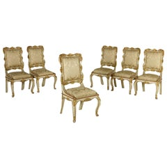 6 Chairs Ivory Lacquered Carved and Gilded, Italy, First Half of the 1800