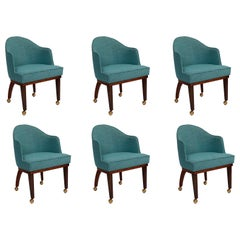 6 Chet Beardsley Walnut and Upholstered Dining Chairs