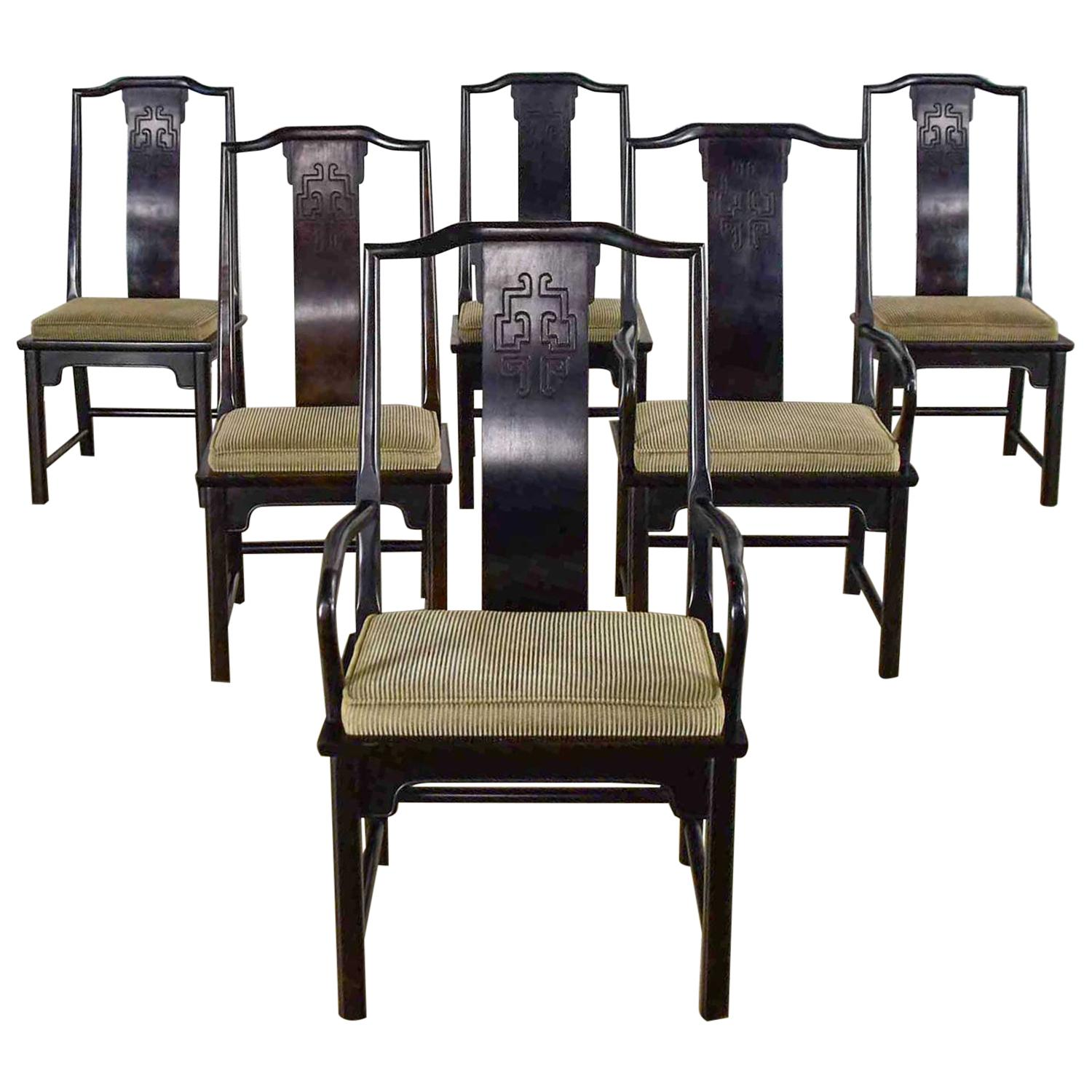 6 Chin Hua Dining Chairs in Black by Raymond K. Sobota for Century Furniture