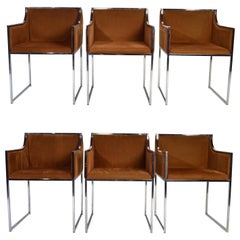 6 Chrome and Velvet Dining Chairs Attributed to Willy Rizzo Italy