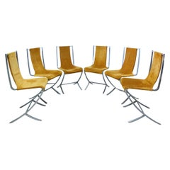 6 Chrome Nubuck Chairs Created by Pierre Cardin for Maison Jansen French c. 1970