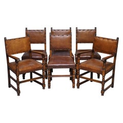 6 circa 1900 Solid Oak Brown Leather Dining Chairs Edwardian Style & Charm, Six