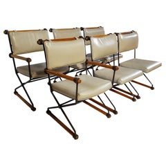 Six Cleo Baldon Chocolate Lacquer Wrought Iron Indoor Outdoor Chairs Terra, 1966