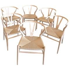 6 Contemporary Danish 1960s Style Wishbone White Oak Riff Wood Arm Chairs