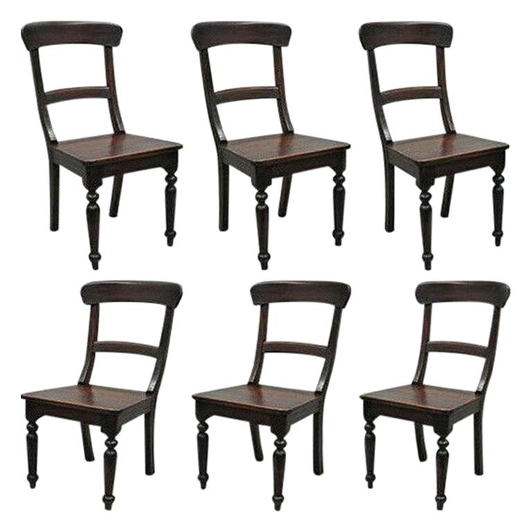 6 Crate & Barrel Dark Solid Wood Farmhouse Dining Room Chairs Curved Back