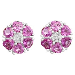 6 Ct Heart Shape Pink Sapphire & Diamonds Flower Earrings 14 Karat White Gold