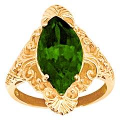 6 Ct Natural Marquise Cut Green Tourmaline Ring in 14 Karat Yellow Gold