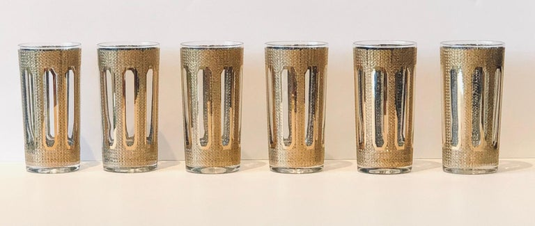 Offered is a set of six Mid-Century Modern signed culver modern textured gilt gold pattern with an overall
