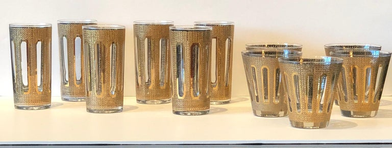 Mid-Century Modern 6 Culver Textured Gilt Gold Pattern Over Clear Glass Tall Cocktail Glasses For Sale