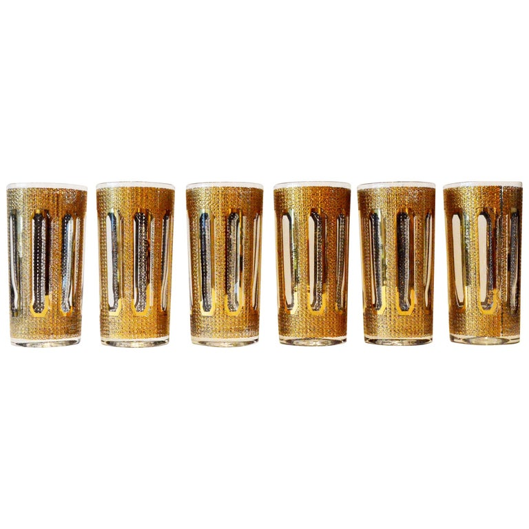 6 Culver Textured Gilt Gold Pattern Over Clear Glass Tall Cocktail Glasses For Sale