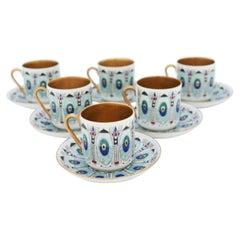 6 Cups & Saucers, Eira Gold, Arabia, Raija Liisa Uosikkinen, 1950s