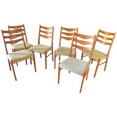 6 Danish Brown Teak Dining Chairs Arne Wahl Iversen Glyngøre Stolefabrik, 1960s