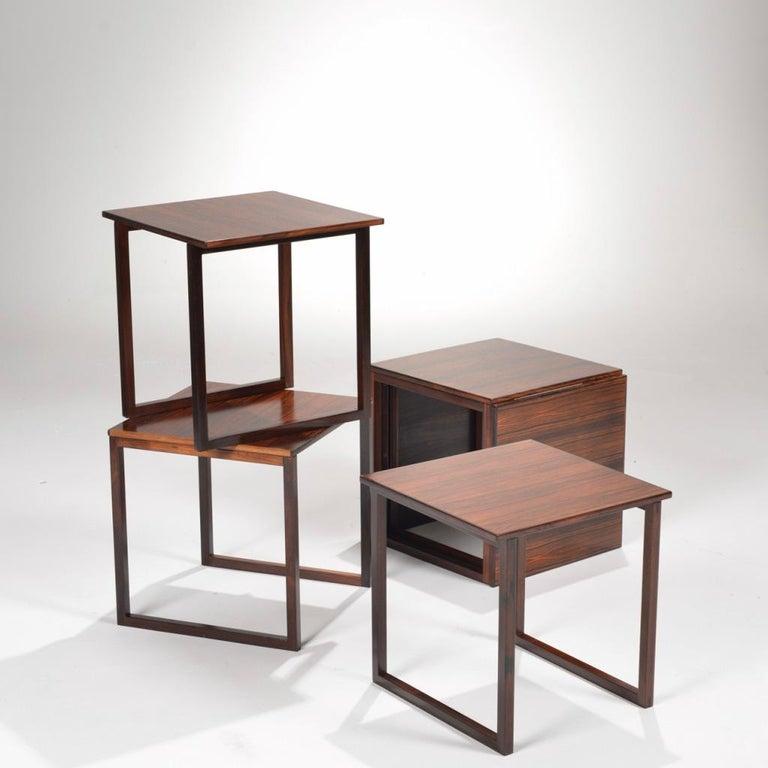 Scandinavian Modern 6 Danish Modern Rosewood Nesting Tables