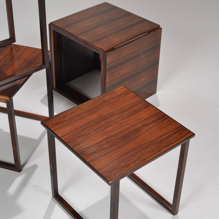 6 Danish Modern Rosewood Nesting Tables In Excellent Condition In Los Angeles, CA
