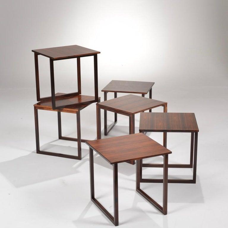 Late 20th Century 6 Danish Modern Rosewood Nesting Tables