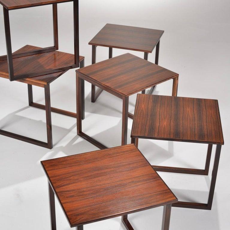 6 Danish Modern Rosewood Nesting Tables 2