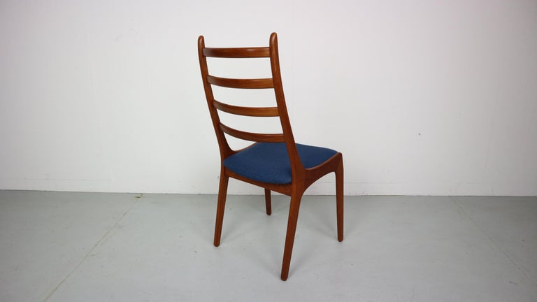 6 Danish Modern Teak Ladder Back Dining Chairs By Kai