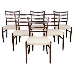 6 Danish Rosewood & Leather Johannes Andersen Dining Chairs