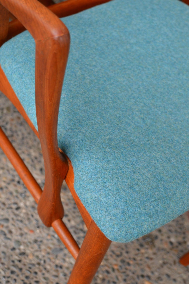 6 Danish Teak Liz Dining Chairs by Koefoeds Hornslet, 2 Armchairs, Blue Wool For Sale 6