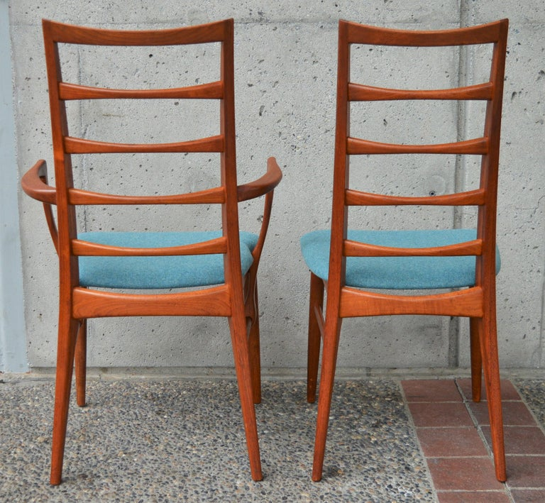 6 Danish Teak Liz Dining Chairs by Koefoeds Hornslet, 2 Armchairs, Blue Wool For Sale 7