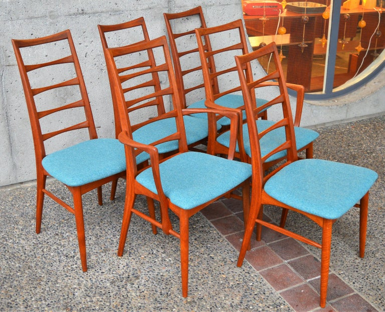 This stellar set of top quality Danish Modern solid teak dining chairs were designed by Niels Koefoed for Koefoeds Hornslet in the 1960s, known as the Liz chair, and bear the Danish Quality Control symbol as well as the makers brand. The chairs