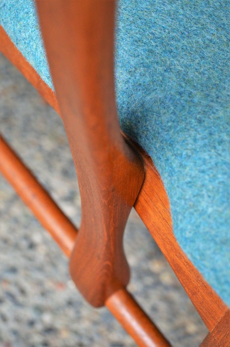 Mid-Century Modern 6 Danish Teak Liz Dining Chairs by Koefoeds Hornslet, 2 Armchairs, Blue Wool For Sale