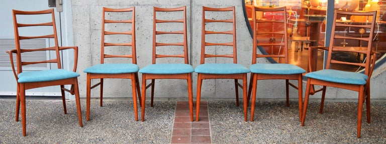 Mid-20th Century 6 Danish Teak Liz Dining Chairs by Koefoeds Hornslet, 2 Armchairs, Blue Wool For Sale