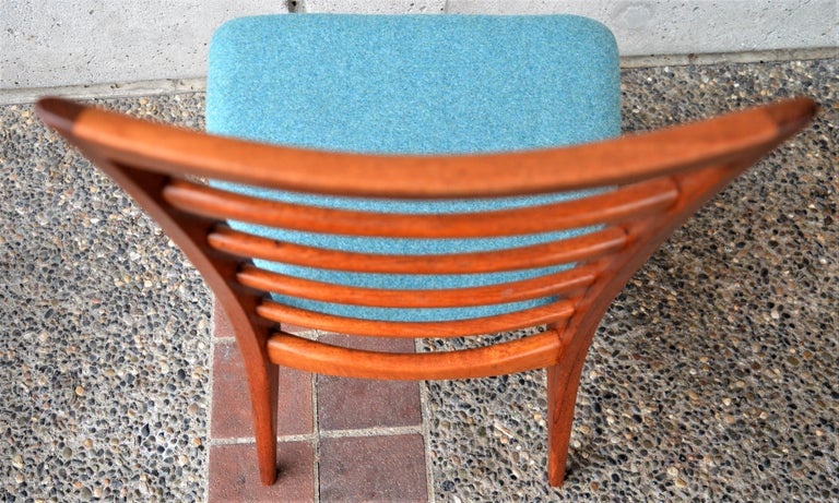 Upholstery 6 Danish Teak Liz Dining Chairs by Koefoeds Hornslet, 2 Armchairs, Blue Wool For Sale