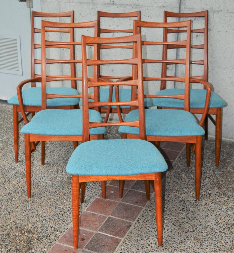 6 Danish Teak Liz Dining Chairs by Koefoeds Hornslet, 2 Armchairs, Blue Wool For Sale 1