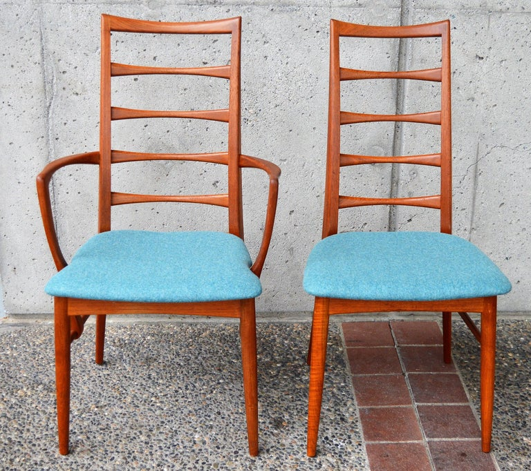 6 Danish Teak Liz Dining Chairs by Koefoeds Hornslet, 2 Armchairs, Blue Wool For Sale 2