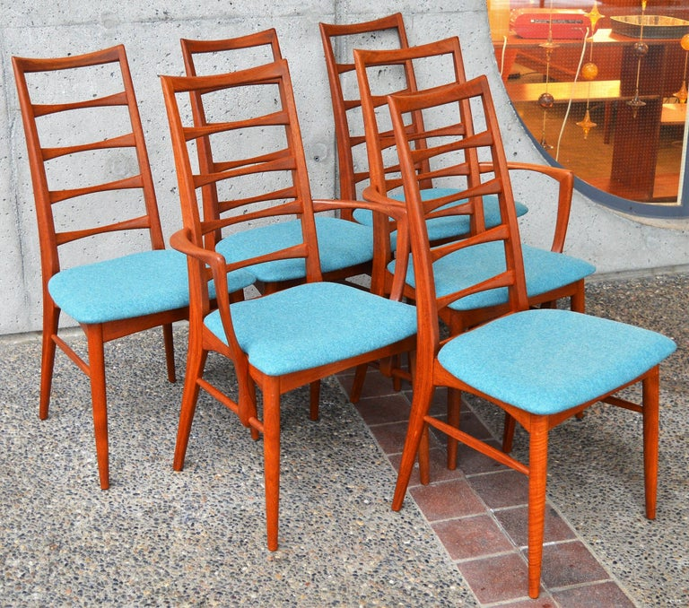 6 Danish Teak Liz Dining Chairs by Koefoeds Hornslet, 2 Armchairs, Blue Wool For Sale 3