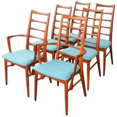 6 Danish Teak Liz Dining Chairs by Koefoeds Hornslet, 2 Armchairs, Blue Wool