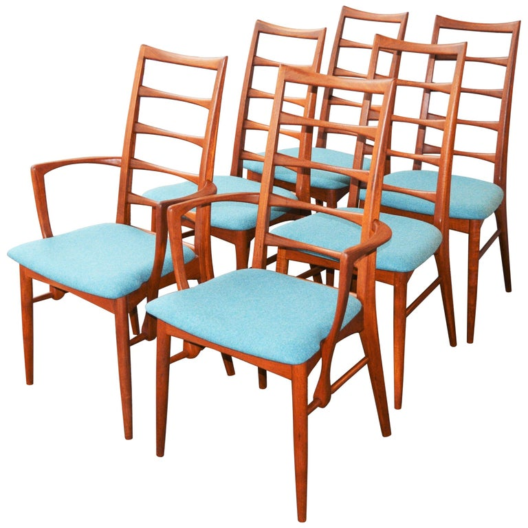 6 Danish Teak Liz Dining Chairs by Koefoeds Hornslet, 2 Armchairs, Blue Wool For Sale