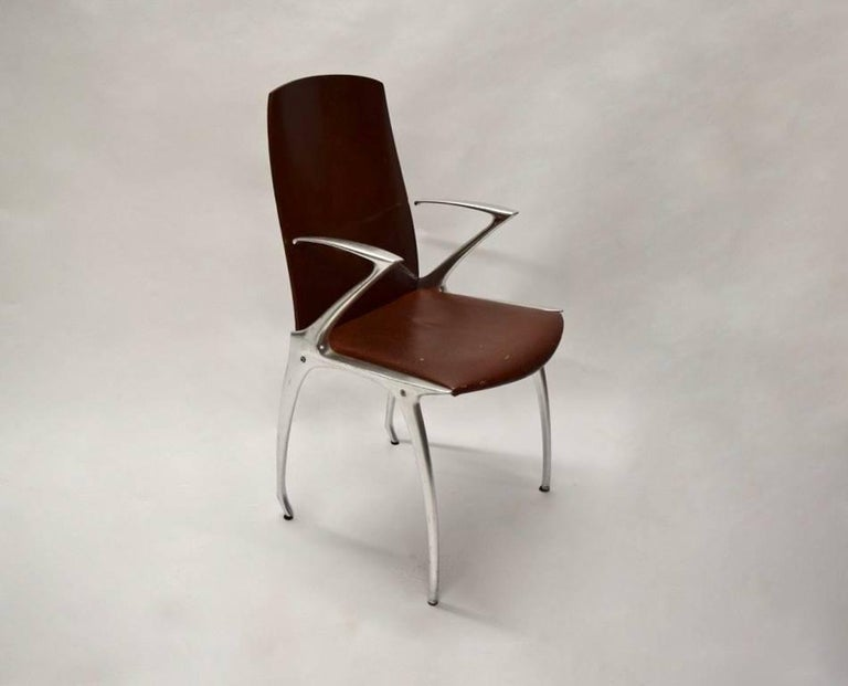 Six Dining Chairs Attributed to Philippe Starck, circa 1985 For Sale 4