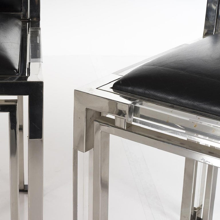 Mid-Century Modern 6 Dining Chairs in Lucite and Chrome by Charles Hollis Jones, Metric Collection For Sale