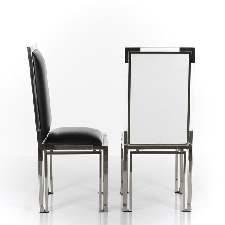 Plated 6 Dining Chairs in Lucite and Chrome by Charles Hollis Jones, Metric Collection For Sale