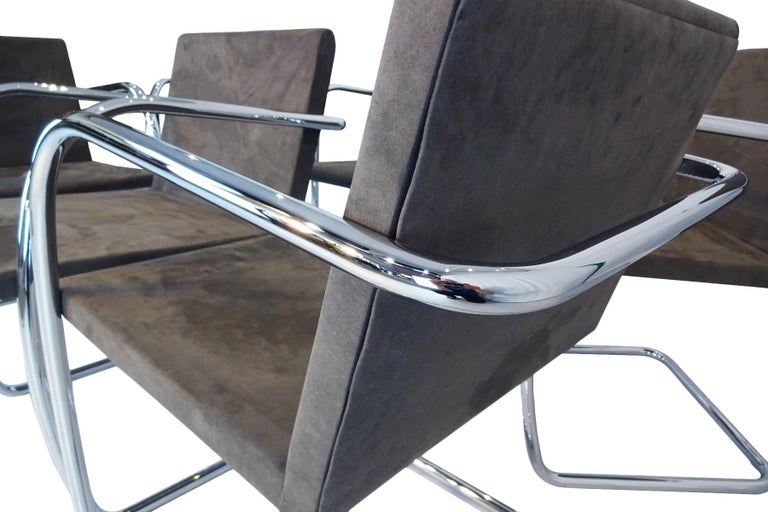 Excellent set of 6 original Mies van der Rohe Brno tubular chrome & suede chairs.