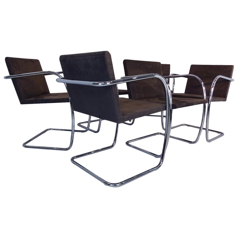 6 Dining Chairs - Mies Van Der Rohe Brno Knoll Studio chrome & Suede Chairs For Sale