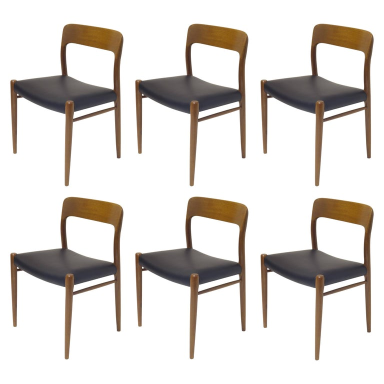 6 Dining Chairs Model 75 by J.L. Moeller, Denmark, circa 1960