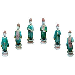 6 Elegant Ming Dynasty Court Attendants in Glazed Terracotta, China 1368-1644 AD