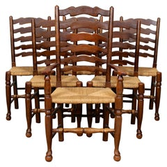 6 English Oak Elm Rushwork Country Dining Chairs Rustic Farmhouse Sussex Chairs