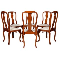 6English Queen Anne Dining Chairs Antique Vintage